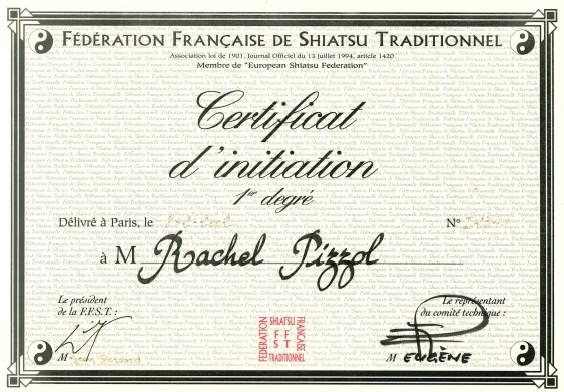 diplome initiation FFST Shiatsu Rachel Caille