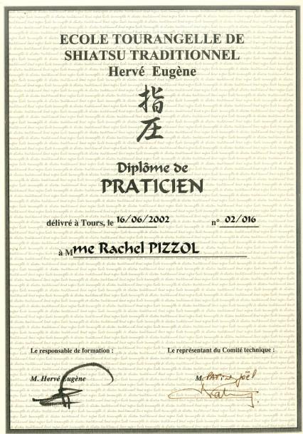 diplome praticien Shiatsu Rachel Caille